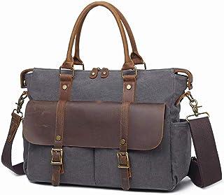 Messenger Bag for Men, Canvas Shoulder Bag Satchel, 14 inch Laptop Business Briefcase Crossbody with Detachable Strap Large Briefcase,Gray