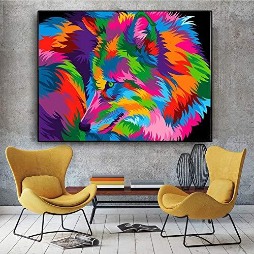 KWzEQ Imprimir en Lienzo Lobo Colorido para decoración de Pared y póster de Sala de Estar,70x95cm,Pintura sin Marco