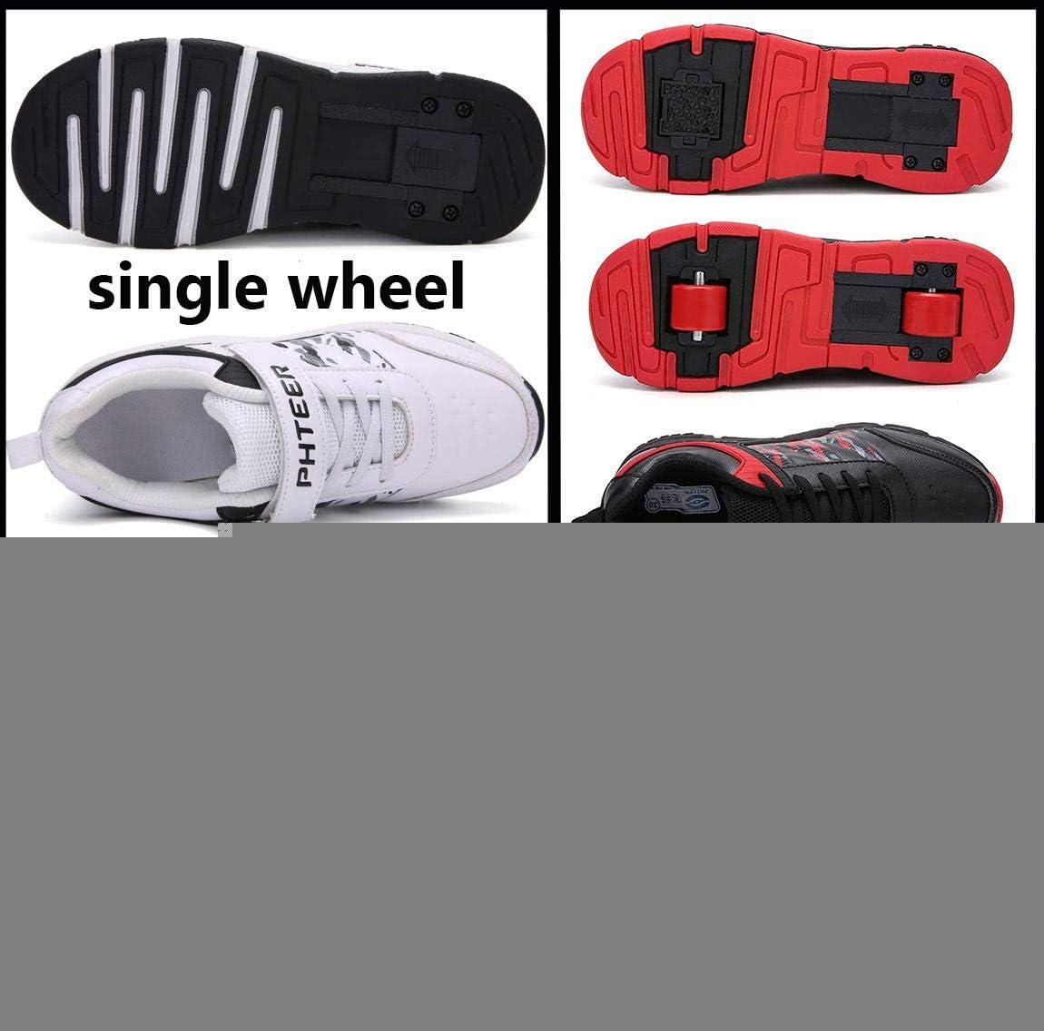 qmj Chaussures /À roulettes Fille Gar/çon Sport Sneaker Patins /À roulettes Chaussures De Skate avec 2 Roues Chaussures /À roulettes Baskets De Gymnastique Chaussures De Fitness,Red-31