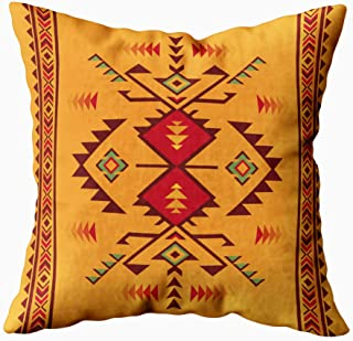 HerysTa Zip Pillow Case Home Decorative Throw Pillow Cover 16X16inch Invisible Zipper Cushion Cases Geometric Pattern Native American Southwest Print Ethnic Fabric Textile Square Sofa Bed Décor