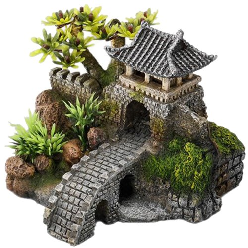 Europet Bernina 234-411933 Aquariendekoration Gate Bridge mit Pflanzen, 15.7 x 13.5 x 11.5 cm