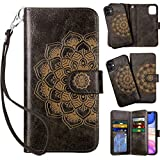 Vofolen 2-in-1 Case for iPhone 11 Case Wallet Credit Card Holder ID Slot Detachable Hybrid Protective Slim Hard Shell Magnetic PU Leather Folio Pocket Flip Cover for iPhone 11 6.1 inch Mandala Gray