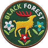 2 x Schwarzwald Black Forest Abzeichen 60 mm / hochwertig gestickte Aufnäher Aufbügler Sticker Wappen Patches für Kleidung Mode Fashion Taschen Rucksack / Hirsch Geweih Hirschgeweih Naturpark