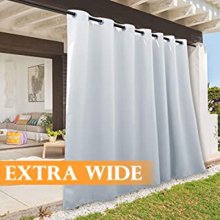 RYB HOME 108 inches Long Outdoor Curtains Plus Long Porch Curtains Outdoor Waterproof Drape for Gazebo/Cabana/Lounge/Pergola Deck, 100 inch x 108 inch, 1 Panel, Grayish White