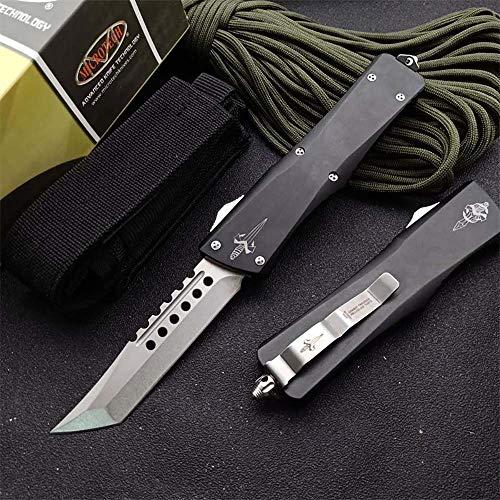 Navaja plegable de acero D2, cuchillo de caza, cuchillo de supervivencia, cuchillo de supervivencia, cuchillo negro con agujero de aluminio, cuchillo de rescate, cuchillo de cinturón con clip de vaina