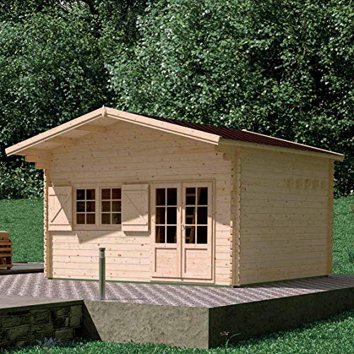 MADEIRA - MADEIRA - Abri de jardin bois JASMIN avec mezzanine 19,2 m2 - 44 mm