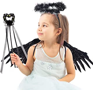 Koogle Children's Black Angel Wings Kids,Halloween Wings Feather Angel Wings Halo Fairy Stick for Halloween Party Costumes Angel Wings for Cosplay, Party Costumes