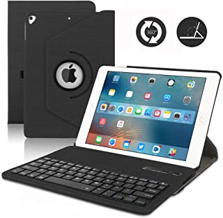 iPad 9.7 Keyboard Case for 2018 6th Gen,iPad 2017 5th Gen,iPad Pro 9.7 inch, iPad Air 2& 1, 360 Rotatable,Built-in Magnet,Removable Wireless Bluetooth Keyboard, Case with Keyboard for 9.7 inch (Black)