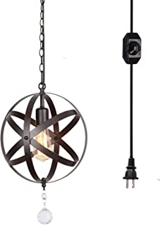 Creatgeek Industrial Plug in Pendant Light,16.4' Ft Hanging Cord and On/Off Dimmable Switch Mini Globe Chandelier,Vintage Oil Rubbed Bronze Ceiling Light Fixture for Kitchen Dining Room Bedroom-1 Set