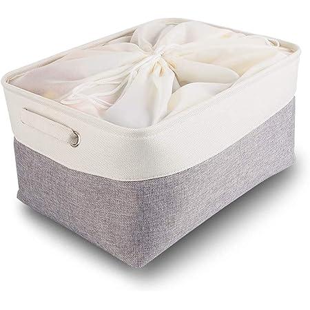 Mangata Boîtes de Rangement en Tissu Panier de Rangement Grand en Toile avec Poignées pour Étagères Vêtements Jouets (Pliable, Gris Blanc, Extra Large)