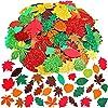 Supla Fall Maple Leaf Foam Stickers Fall Leaf Foam Glitter Stickers Maple Oak Birch Leaves Cutouts Foam Stickers Self… |