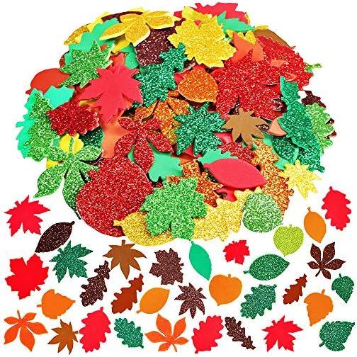 Supla Fall Maple Leaf Foam Stickers Fall Leaf Foam Glitter Stickers Maple Oak Birch Leaves Cutouts Foam Stickers Self…  