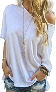 Howely Women's One Shoulder Loose Short-Sleeve Batwing Tees Top T-Shirt