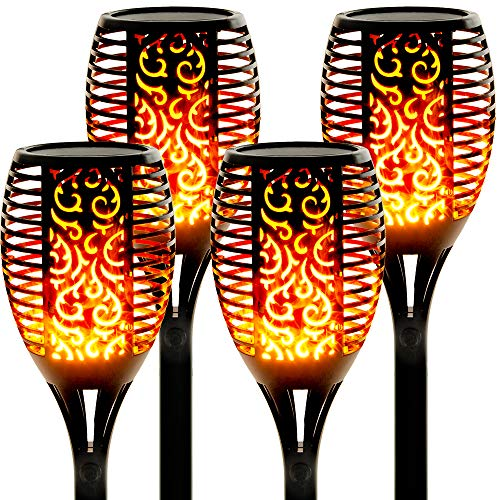 Walensee Solar Lights Outdoor Upgraded 43'(4 PACK) 96 LED Waterproof Flickering Flames Torch Lights Outdoor Solar Spotlights Landscape Decoration Lighting Dusk to Dawn Auto On/Off Security Torch Light
