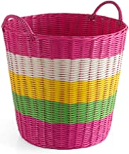 YAYADU Storage Basket Plastic Rattan Finishing Box Hand Weave For Shopping Store Pillow Vegetables Fruit Book (Color : E, ...