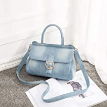 AYN Denim Bolso de Mujer Jeans Crossbody Bag   Female Big Tote Travel Shoulder Bag Azul, Azul Claro, 30x23x12cm