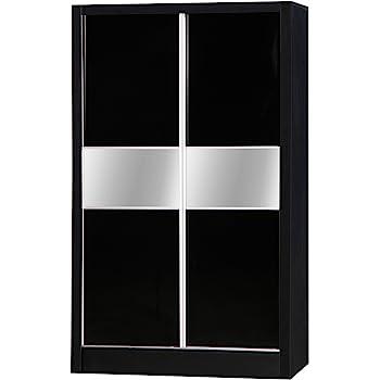 Alpha Negro Brillante de Dos Tonos 2 Puerta corredera para Armario con Espejo Dormitorio Unidad: Amazon.es: Hogar