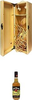 1a Whisky Holzbox für 1 Flasche mit Hakenverschluss  Jim Beam APPLE Whiskey 0,7 Liter