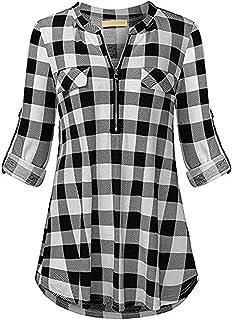 COSTRO Donna Camicetta Lunga con Scollo a V con Maniche Lunghe a Tunica da Donna Camicia T-Shirts