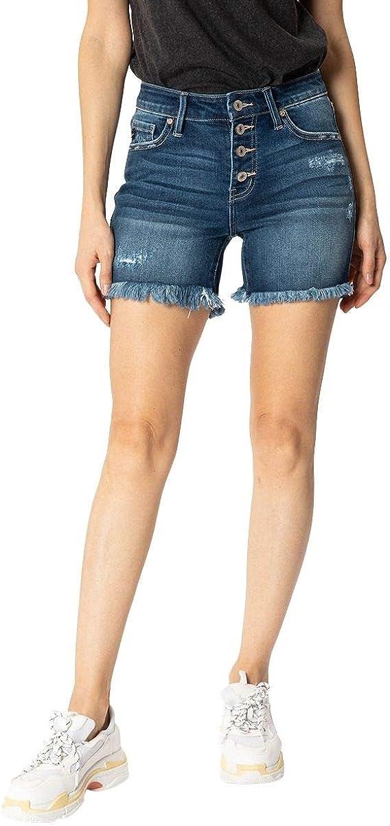 Kancan Women's Mid Rise Frayed Hem Shorts - KC7334