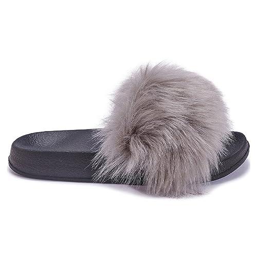 Womens Sliders Mules Faux Fur Sandals Slip On Beach Shoes