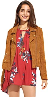 HaoDuoYi Womens Motocyle Faux Suede Leather Short Moto Jacket