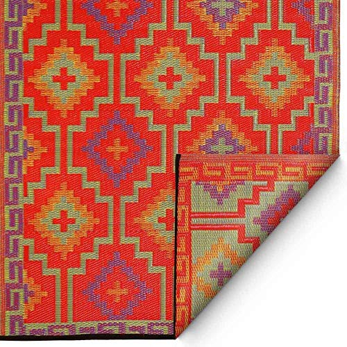 milanari Outdoor Plastique réversible Tapis LHASSA Orange/Violet 150 x 240 cm Orange Violett