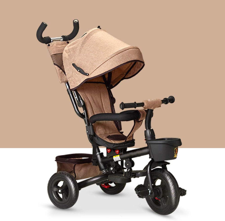 QXMEI 4 in 1 Triciclo per Bambini Pieghevole 6 Mesi A 5 Anni 360° Sedile rossoante Triciclo A Spinta per Bambini 2 Freni sulle Ruote Posteriori Triciclo per Bambini autoico Massimo  100Kg,Marronee