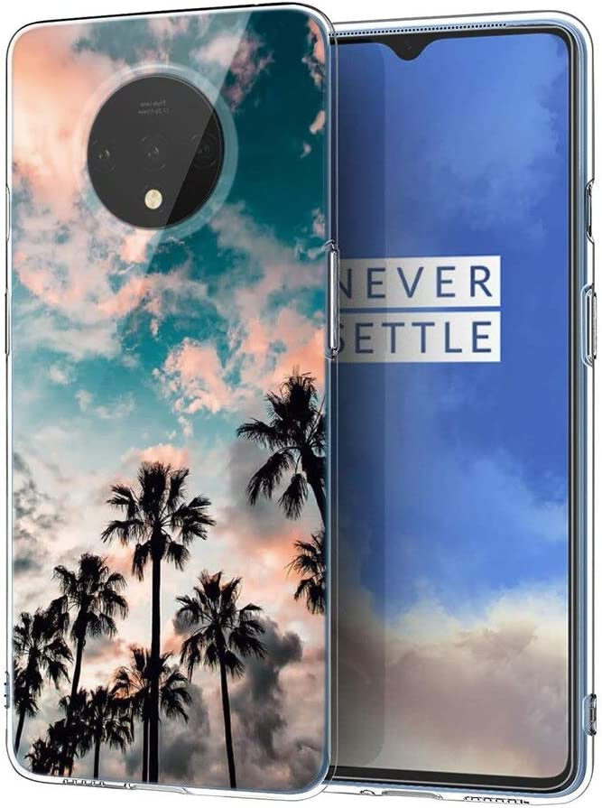 Eouine for OnePlus 7T Case, Phone Case Transparent Clear with Pattern Ultra Slim Shockproof Soft Gel TPU Silicone Back Cover Bumper Skin for OnePlus 7T Smartphone (Coconut Tree)