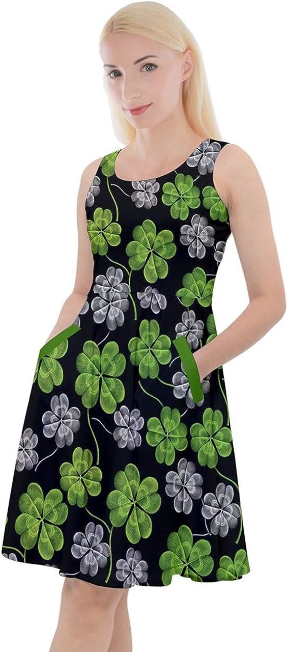 CowCow Womens Shamrock Pattern ST Patrick's Day Clover Leaves Leprechauns Knee Length Pockets Skater Dress, XS-5XL