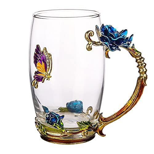 COAWG Glass Tea Cup 12oz Lead Free Handmade Enamel Butterfly And Blue Rose Flower