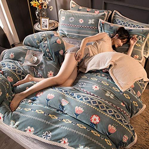 Juego de ropa de cama con funda de edredón-Invierno de cuatro piezas de lana de coral invierno de franela gruesa de doble cara de lana de leche extra grande funda nórdica cama individual funda de alm