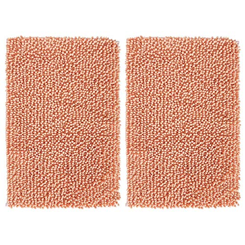 mDesign Soft Microfiber Polyester Non-Slip Rectangular Spa Mat, Plush Water Absorbent Accent Rug for Bathroom Vanity, Bathtub/Shower, Machine Washable - 30' x 20' - Pack of 2, Coral