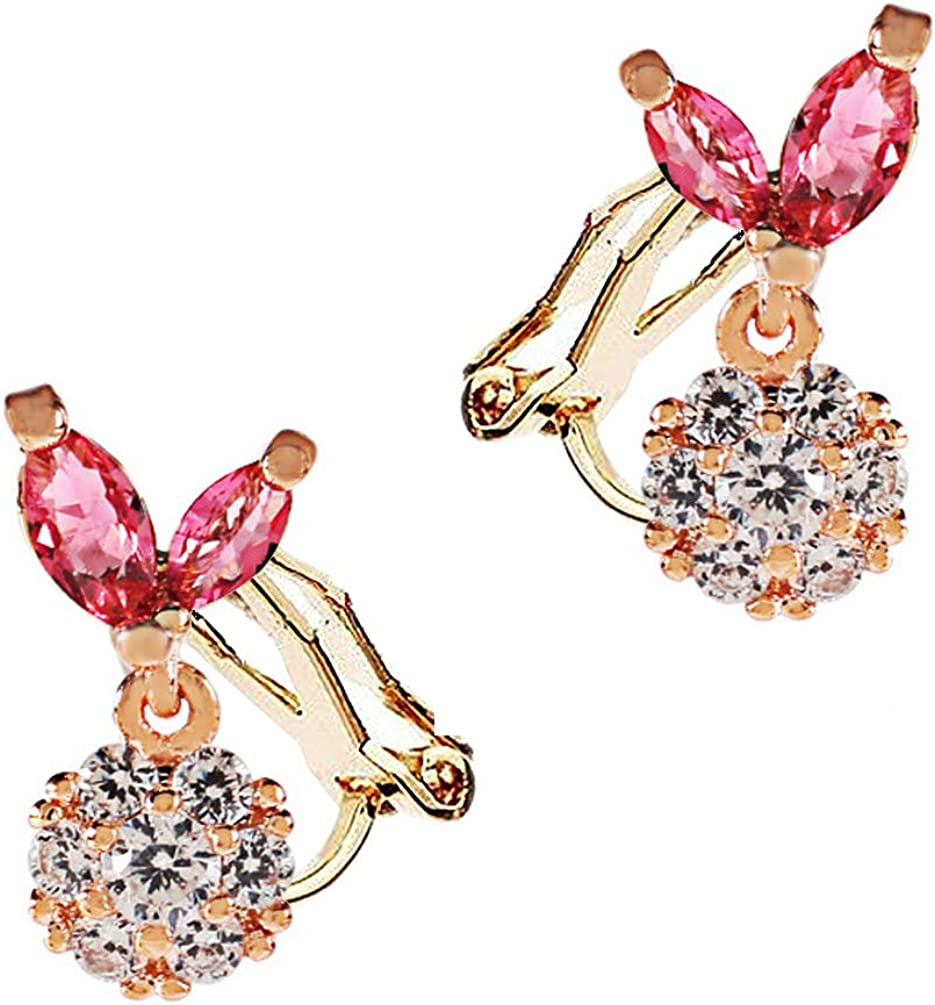 Cubic Zirconia Round Clip on Earrings no Pierced Soft Pads Pink Crystal Leaf for Women Girls Rhinestone