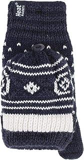 Heat Holders Winter Warm Thermal Fairisle Fingerless Converter Gloves Mittens