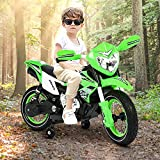 BRADEM Kids Electric Motorcycle 6V Ride On Cars for Toddler Boys Girls Age 3 4 5 6 7 8 Year Old Children Riding Toys with Training Wheels Green
