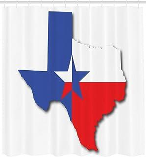 ijiashunf Muestra del Esquema del Mapa Estelar de Texas Cortina de baño antibacteriana HD para baño fácil de Limpiar