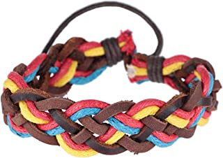 Flying Jewellery Men's Leather Wax Rope Braided Bracelet - [CGB6R]