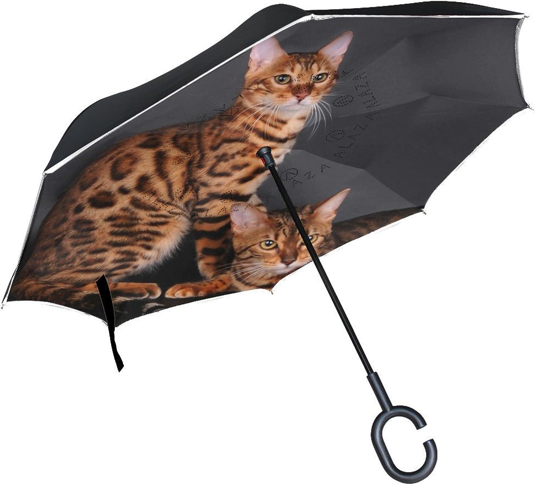 Animal Cat Bengal Yellow Black Mix Fluffy Cute Pet Ingreened Umbrella Large Double Layer Outdoor Rain Sun Car Reversible Umbrella