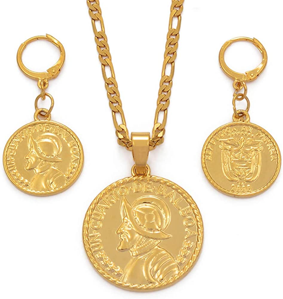 Panama Pendant Necklace Earrings Set For Women With Balboa Portrait Gold Color Panamanian Jewelry Sets Gifts Chain Length 45cm