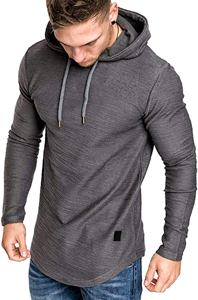 SHERUPOO Mens Workout Hoodie Gym Attention brand Hood Muscle Athletic Sweatshirt Large discharge sale