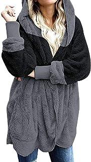 OPAKY Cárdigan con Capucha Suelta Mujer Patchwork de Manga Larga Outwear con Bolsillo Jerséis Abrigo de Rebeca con Bolsill...