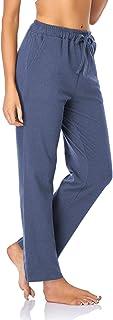 SEVEGO Women's Comfy Lounge Pants with Pockets Drawstring Straight Leg Soft Pajama Bottoms