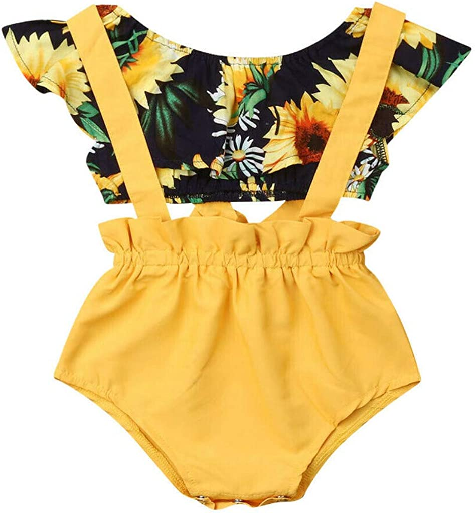 RYGHEWE Toddler Baby Girls Sunflower Tops T Shirt+Suspenders Overalls Pants Outfit Summer Clothes Set