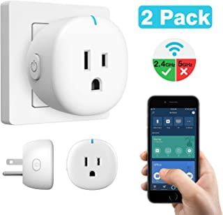 MoKo Wifi Smart Plug, [2 Pack] Mini Wifi Outlet Mini Socket Compatible with Alexa Echo, Google Home & IFTTT, Smart Life App Remote Control Home Appliances, 10A, No Hub Required, White