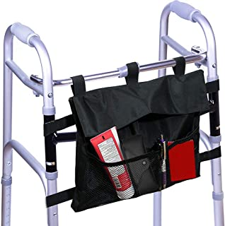 Walker and Rollator Bag - Water Resistant Accessory Storage Pouch Attachment for Folding or Standard - Carry Tote Basket Style Bag fits Most Styles Designed for Elderly, Seniors, and Disabled
