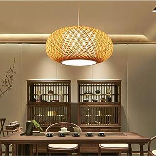 Araña de bambú tejida a mano Luz de techo de estilo natural pastoral luces colgantes de alambre de bambú natural Lámpara de techo para restaurante cafetería dormitorio entrada cocina iluminación,50cm