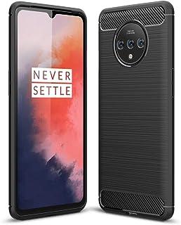 OnePlus 7T ケース,シリコン ショックプルーフ カバー カーボンファイバー TPU 超薄型 耐久性のある 炭素繊維 柔らかい 保護 カバー,ために OnePlus 7T (ブラック)