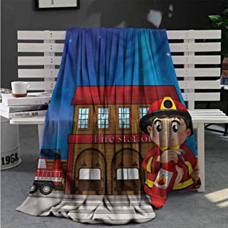 Cozy Flannel Blanket Fireman,Fire Station Extinguisher Soft Blankets for Adults 60