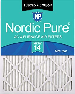 Nordic Pure 12x24x1 MERV 14 Plus Carbon Pleated AC Furnace Air Filters, 2 Pack, 2 piece